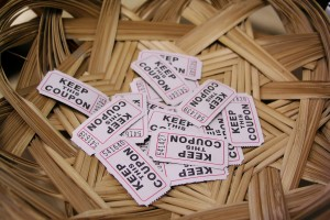 Tickets with numbers in a woven basket